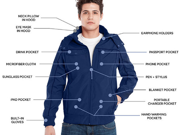 BauBax Men's Bomber Jacket (Blue/Medium)