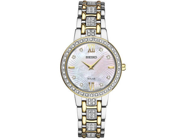 Seiko SUP360 Womens Silver & Gold Crystal Collection Solar Watch - Product Image