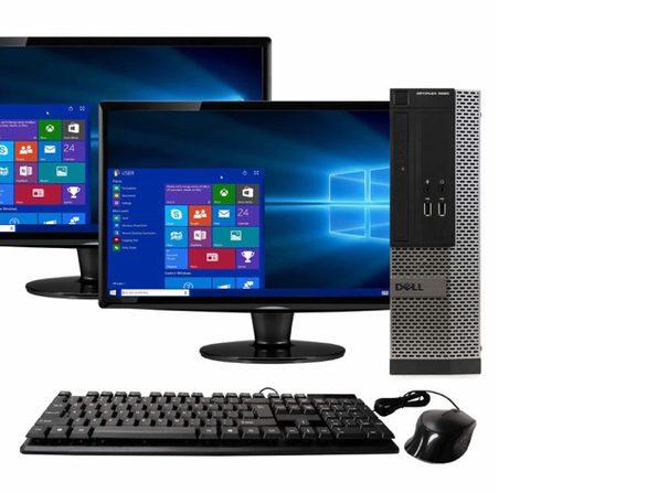 """Dell OptiPlex 3020 Small Form Factor PC, 3.2GHz Intel i5 Quad Core Gen 4, 16GB RAM, 2TB SATA HD, Windows 10 Professional 64 bit, Dual (2) 22"""" Screens (Renewed)"""