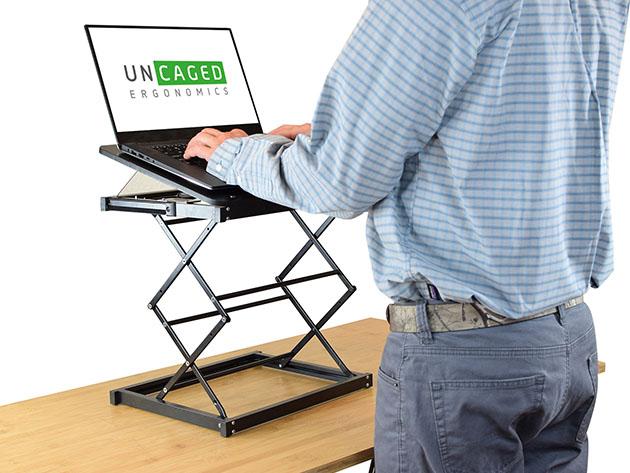 A standing desk converter