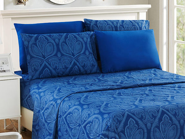 Paisley Microfiber Sheet Set (Navy/King)