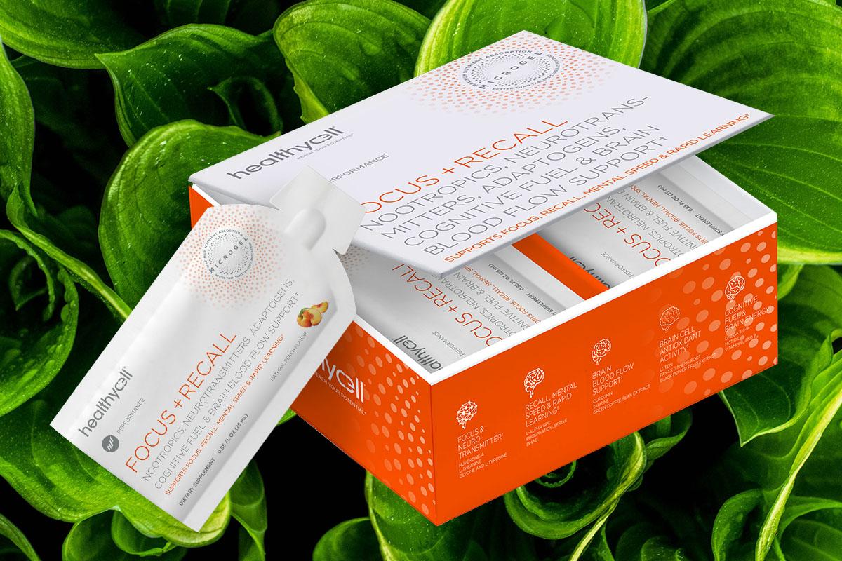 A box of healthycell Focus+Recall, with a green leafy background