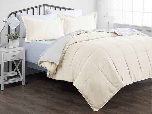Down Alternative Reversible Comforter Set (White & Ivory)