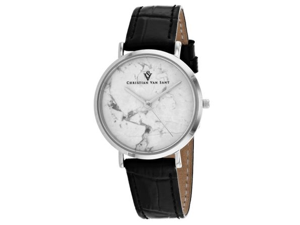 Christian Van Sant Women's Lotus White Dial Watch - CV0420BK
