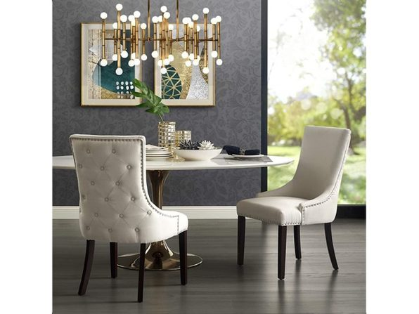 InspiredHome Cream Dining Chair Design: Oscar   Set of 2, Linen - Back Tufted
