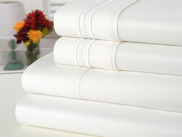 Bamboo Comfort 4 Piece Solid Sheet Sets- King- White - Product Image