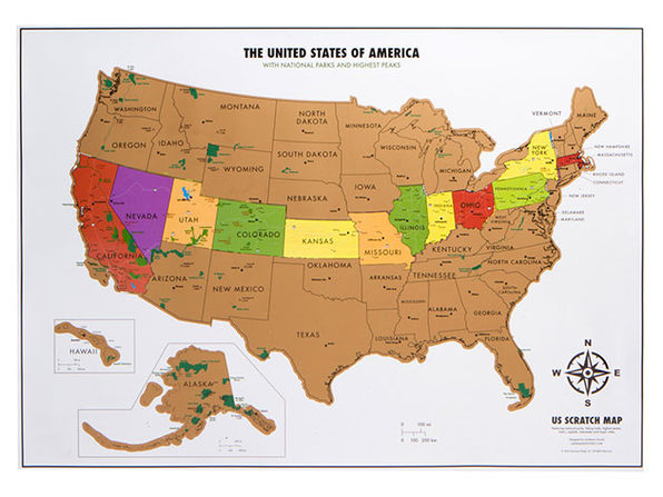 World Travel Tracker Scratch Off Map® (US National Parks) | Citizen ...