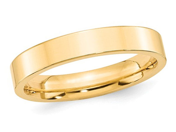 Mens 14K Yellow Gold 4mm Flat Comfort Fit Wedding Band - 7