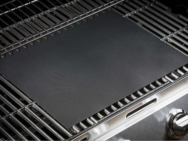 A grill pad on a grill
