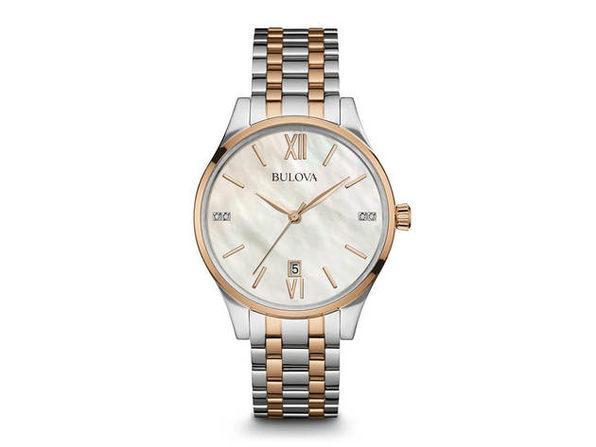 Bulova 98P150 Womens Silver & Rose Gold Diamond Watch - Product Image