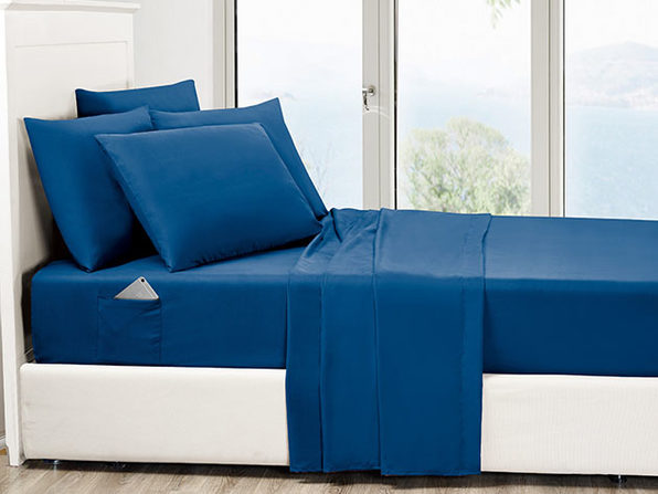6-Piece Navy Ultra Soft Bed Sheet Set with Side Pockets Full - Product Image