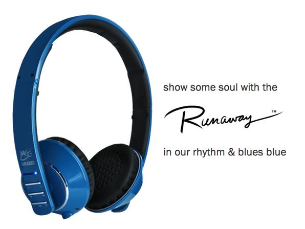 Air-Fi  Runaway Bluetooth Headphones (Blue) - Product Image
