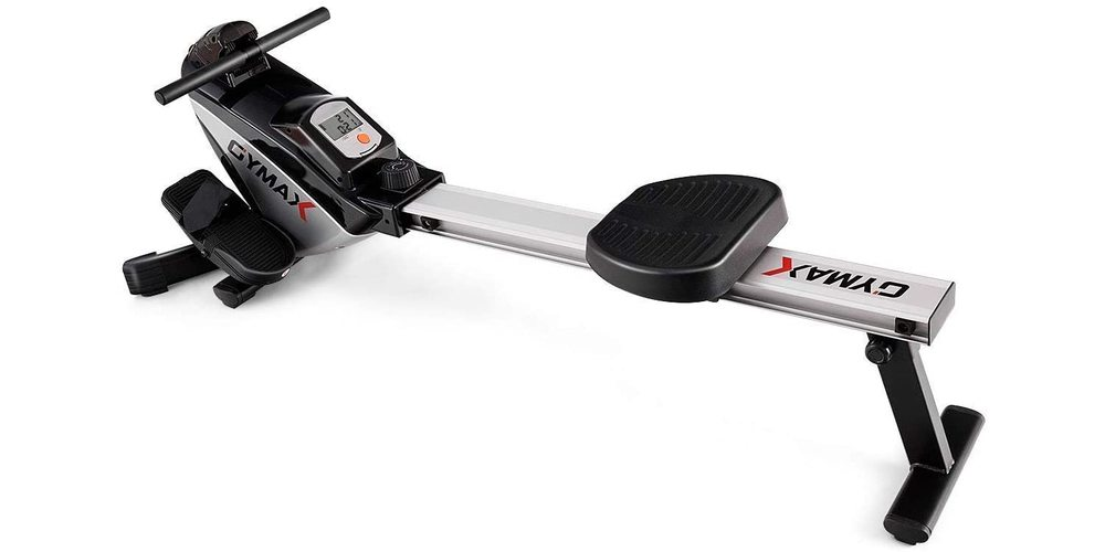 A small silver and black rowing machine