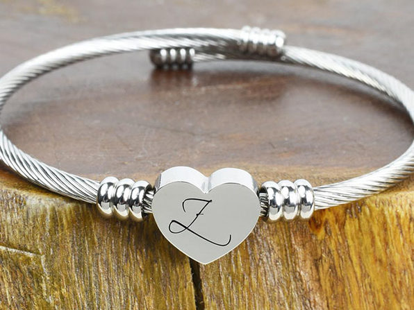 Heart Cable Initial Bracelet - Z - Product Image