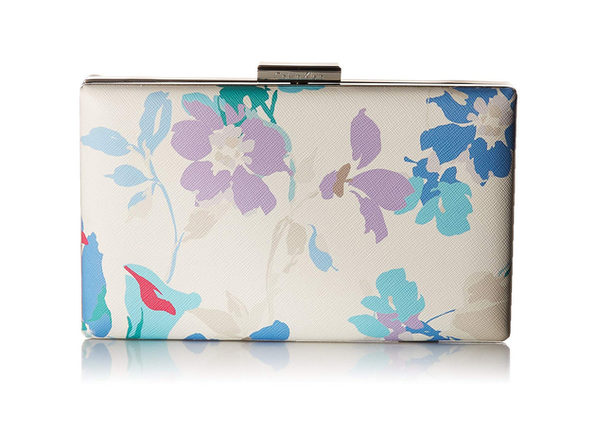Calvin Klein Small Floral Clutch, Saffiano leather; trim: leather, Silver toned exterior hardware
