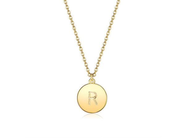 18K Gold Plated Smooth Disc Initial Necklace (Letter R)