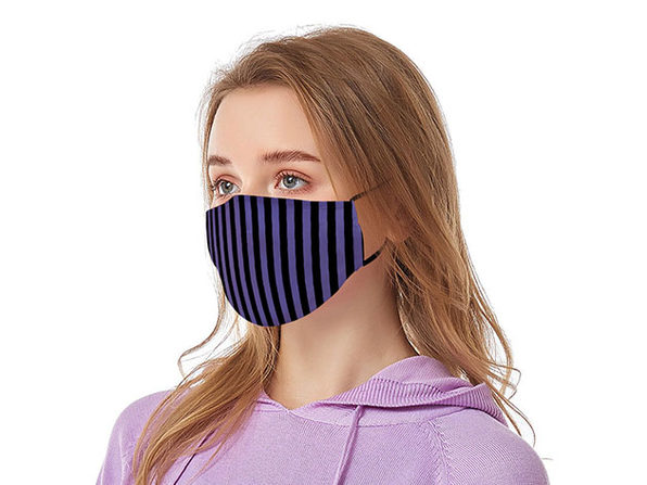 Reusable Face Masks with Adjustable Ear Loops: 2-Pack (Black & Purple)