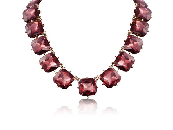 "Fine Pink Crystal Cushion Strand Necklace By ""The Countess"" Luann de Lesseps"