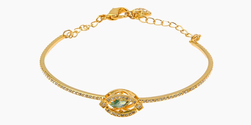 Swarovski Sparkling Goldtone Czech White Crystal Bracelet,