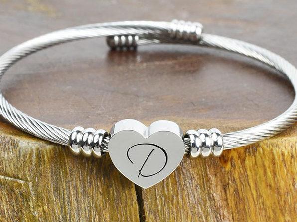 """Heart Cable """"D"""" Initial Bracelet"""