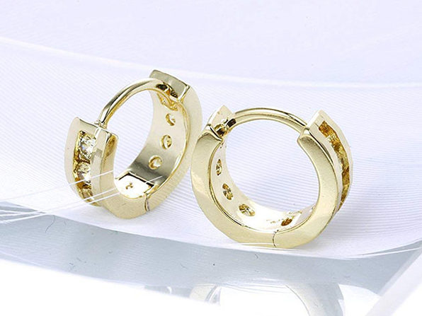 Classic Round Huggie Earrings Featuring Paved Swarovski Crystals