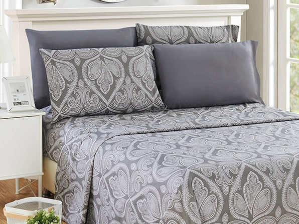 Paisley Sheet 6 Pcs Grey - Queen - Product Image