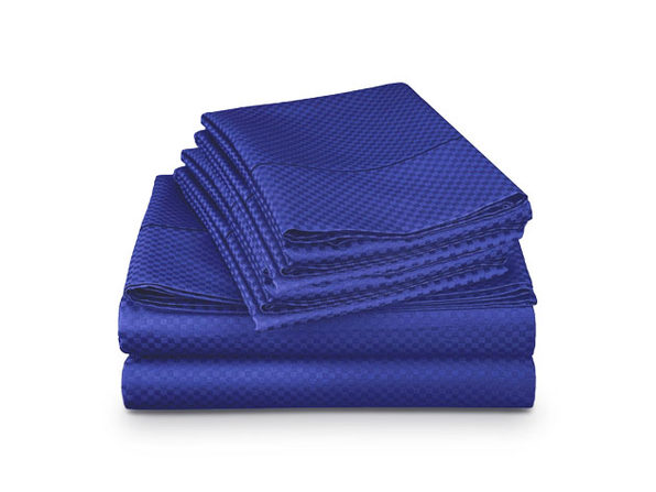 4-Piece Checkered Navy Blue Sheet Set (King)