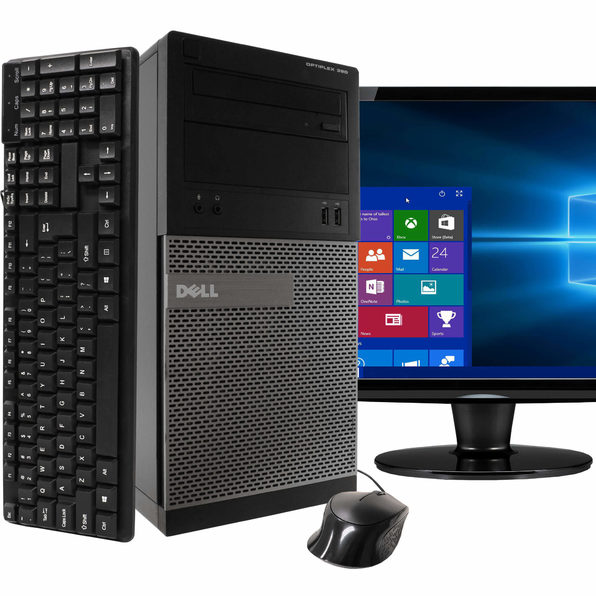 "Dell 390 Tower PC, 3.2GHz Intel i5 Quad Core Gen 2, 8GB RAM, 1TB SATA HD, Windows 10 Professional 64 bit, 22"" Screen (Renewed)"