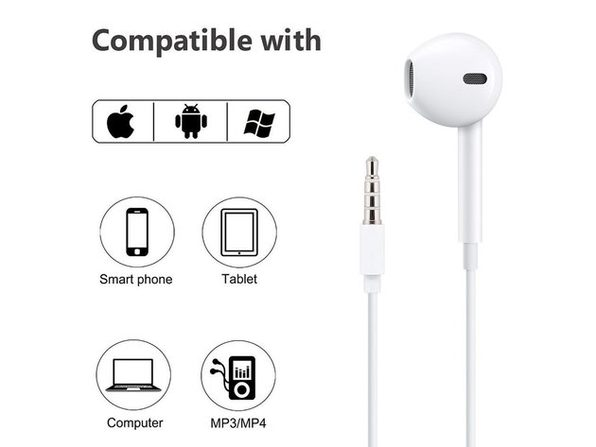 Headphone (In-Ear) with Remote and Microphone - Stereo Sound- White - 2 Pairs