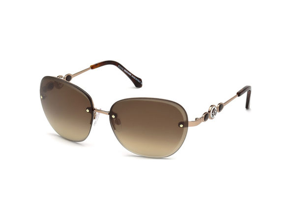 Roberto Cavalli RC783S-34G Women's Shiny Light Bronze Brown Mirror Lens Sunglasses - Gold