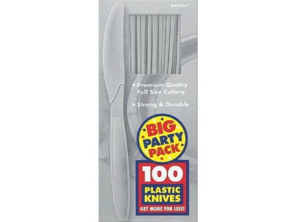 Party Favors - Big Party Pack - Silver - Plastic Knives - 100ct
