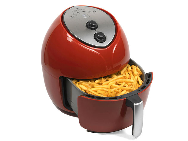 A red air fryer with french fries.