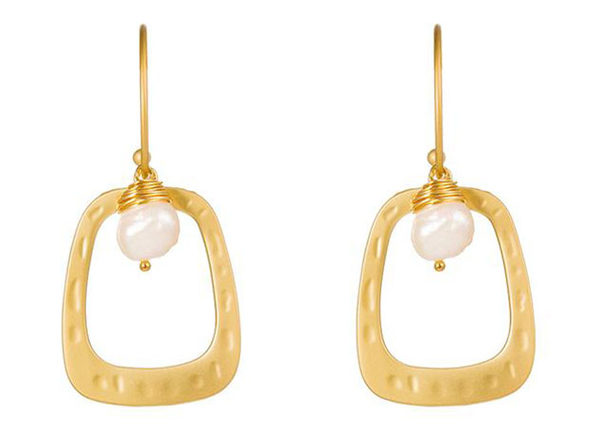Drop Hoop Earrings Matte Gold with Baroque Pearl - Product Image