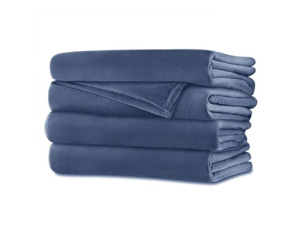 Sunbeam Velvet Plush Electric Heated Blanket King Size Dusty Blue Washable Auto Shut Off 20 Heat Settings - Dusty Blue