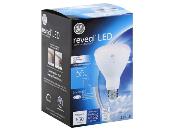 GE 45686 Dimmable R20 Shape Medium Base LED Light Bulb, 25000 Life Hrs 11W, White (New Open Box)