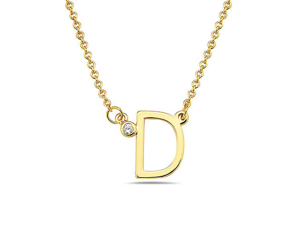 18K Gold Plated CZ Initial Necklaces - D - Product Image