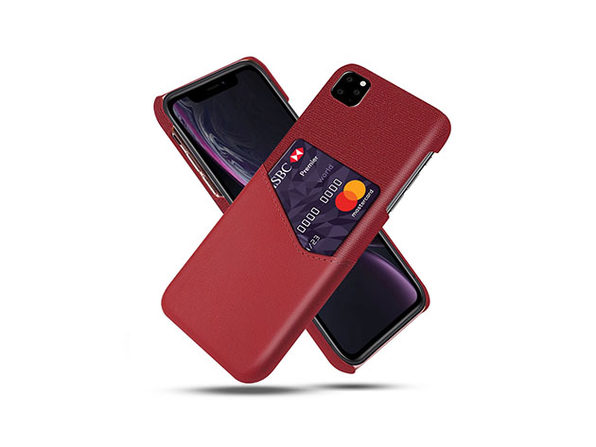 iPhone 11 Credit Card Holder Shock Resistant Fabric Case - Red - Product Image