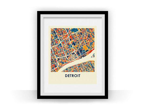 Detroit Prussian Color Map Print (18 x 24)