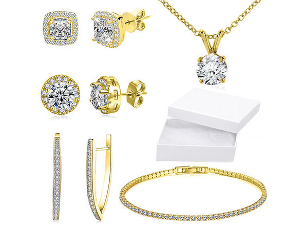 10Ct Tennis Bracelet +Halo Earring+ Necklace With Swarovski Crystals-18k Gold - Product Image
