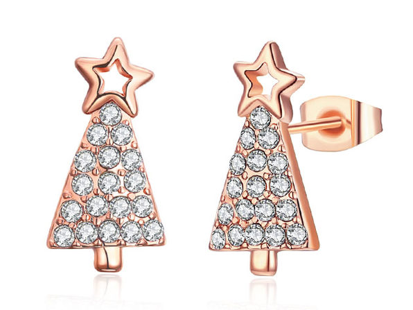 Christmas Tree Stud Earrings Paved with Swarovski Elements (Rose Gold)