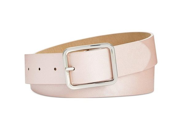 INC International Concepts Women's Casual Solid Belt Solid Blush Silver Size Small