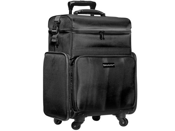 SHANY Soft Rolling Makeup Trolley Case - Multi Compartment with Laptop/iPad Holder - Set of 3 Free Cosmetic Organizers - 360 Wheels - BLACK - BLACK