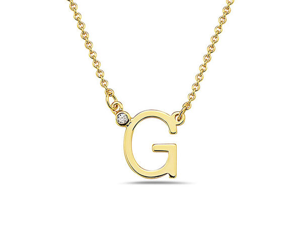 18K Gold Plated CZ Initial Necklaces - G - Product Image