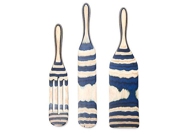 Mad Hungry 3-Piece Pakka Wood Spurtle Set Blue - Product Image