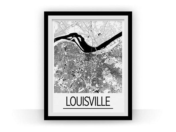Louisville Art Deco Map Print (18 x 24)