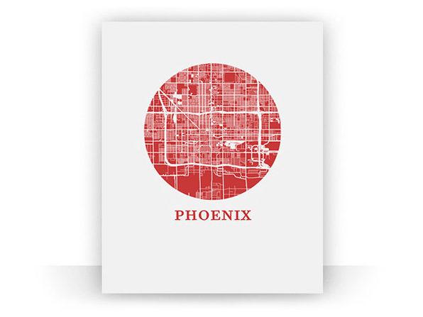 "Phoenix City Map Print (8.5"" x 11"") - Product Image"