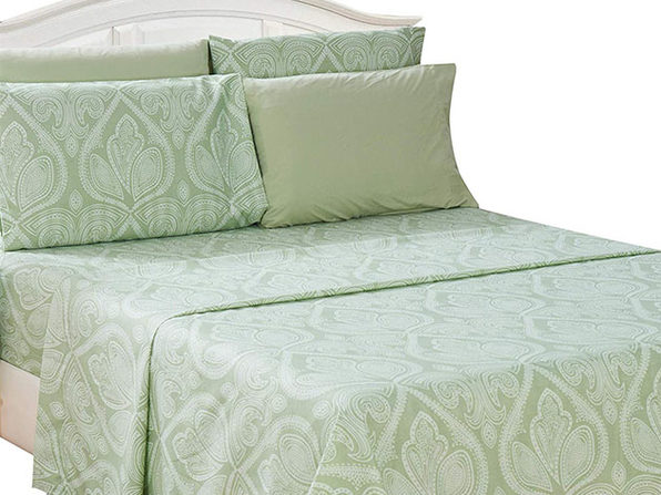 Paisley Sheet 6 Pcs Sage - Full - Product Image
