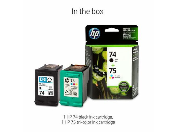 HP 74 with 2 Ink Cartridges, Up To 200 Pages Black and 170 pages Tri-Color, B335WN, CB337WN (New Open Box) - Product Image