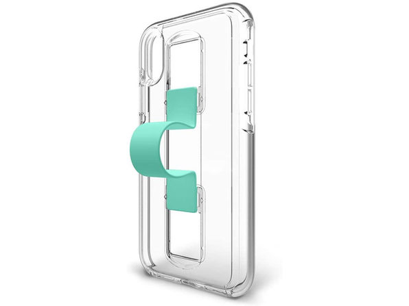 BodyGuardz iPhone X/XS Slidevue Case with Collapsible Fingerloop and Kickstand, Clear/Mint