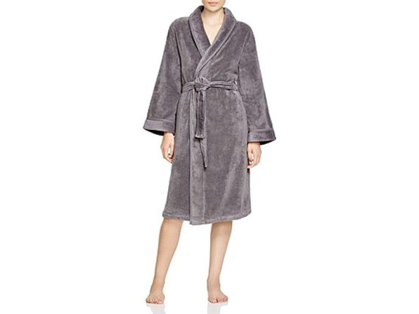 Hudson Park Collection Bathrobe Velour Shawl Robe Size Small Medium Slate Grey Joyus